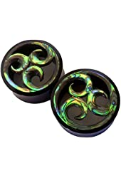 Pair - Polished Buffalo Horn & Tribal Abalone Wave Ear Plugs Organic Hand Carved Gauges - All Sizes!