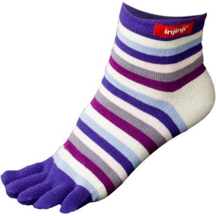 injinji Performance Ecomade Mini Crew Toe Sock Purple Rainbow, S