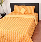 Thuhil home linen Sunny 100% Cotton Yarndyed Double Bedspread With 2 Pillow Covers-King Size,Multi