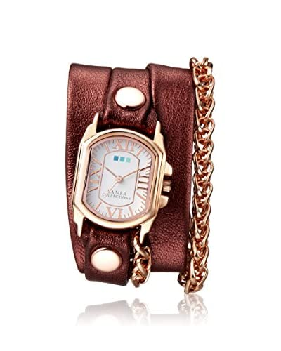 La Mer Collections Women's LM4513 Rose Gold-Tone/Rust Leather Watch