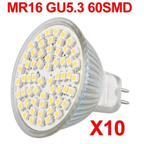 10X MR16 GU 5.3 60 SMD LED Lampe