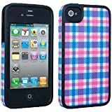 Speck AIP4SKCOVPB Fitted Hard Case with Fabric for Apple iPhone 4 & 4S, Plaid Pink & Blue