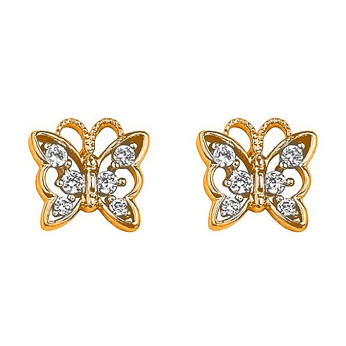 14K Yellow Gold Plated 7.7mm(H)x8.5mm(W) CZ Butterfly Basket Stud Earrings with Screw-Back