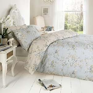 vantona rosa gesteppte tagesdecke blau blumen classic natur k che haushalt. Black Bedroom Furniture Sets. Home Design Ideas
