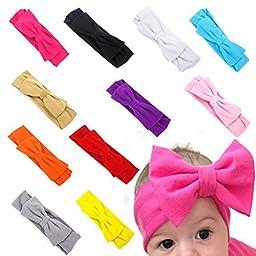 FEITONG(TM) 11PC Baby Newborn Toddler Headband Hairband Elastic Bowknot Photography (11 Colors)