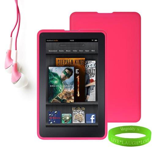 Amazon Kindle Fire Accessories Kit, Bundle Includes: Pink Dust Resistant Kindle Fire Skin Cover + Compatible Noise Reduction Pink Kindle Fire Earbuds Earphones + Vangoddy Tm Live * Laugh * Love Wrist Band!!!