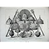 1883 ロシア帝国王位の象徴の王冠の金球体の盾