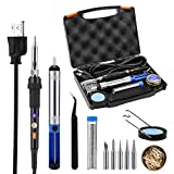 Tacklife SKY47AC 11-in-1 ESD Protecting Soldering Iron Kit 60W Adjustable Temperature Welding Soldering Iron , with 5pcs Different Soldering Tips, Solder Sucker, Soldering Wire,Cleaning Sponge Stand