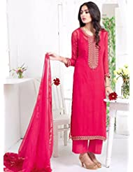 Hot Pink Printed Georgette Unstitched Salwar Kameez
