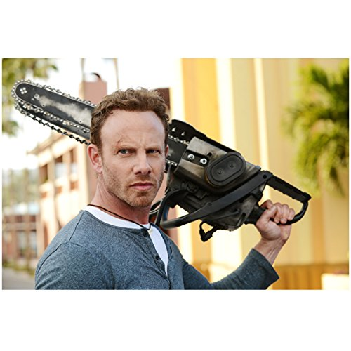 Sharknado 3 with Ian Ziering as Fin Shepard Holding Up Chainsaw on Shoulder 8 x 10 Inch Photo (Sharknado Fin)