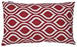 JinStyles Cotton Canvas Ogee Accent Decorative Throw Pillow Cover (Red, White, Rectangular, 1 Cover for 12 x 20 Inserts)
