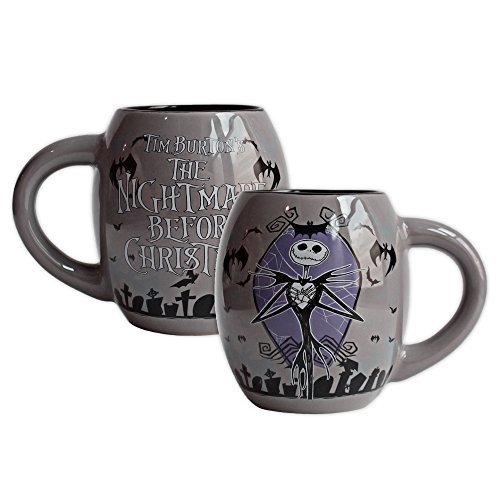 Disney NB9844 Silver Buffalo Nightmare Before Christmas Hands Over Head Ceramic Oval Mug, 18 oz, Multicolor (Ceramic Santa Head compare prices)
