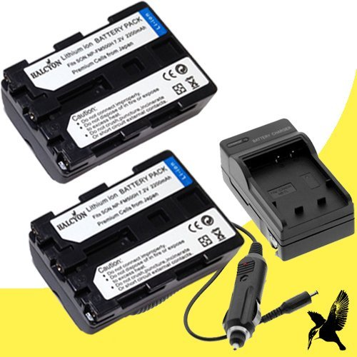 Two Halcyon 2200 mAh Batteries and Charger Kit for Sony NP-FM500H for Sony Alpha SLT-A58, SLT-A57, Sony Alpha SLT-A65, Sony Alpha SLT-A77, Sony Alpha SLT-A99 Digital SLR Cameras (Halcyon Extra Battery compare prices)