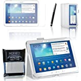 MOFRED® White Samsung Galaxy Tab 3 - 10.1 inch Case-MOFRED® Retail Packed Executive Multi Function Standby Case with Built-in Magnet for Sleep / Wake Feature For the Samsung Galaxy Tab 3 10.1 inch Tablet + Screen Protector + Stylus Pen (Available in Mutiple Colors)