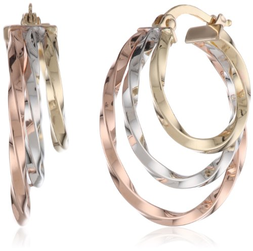 14K Tri-Color Italian Yellow, White And Rose Gold High Polish Triple Row Twisted Hoop Earrings