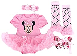 Baby Rae Clothing 4 in 1 Set: Skirt Shortall+Head Band+Legging Socks+Shoes -Pink Minnie Mouse-Sold Ship from USA