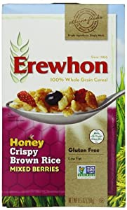 Erewhon Honey Crispy Brown Rice with Mixed Berries, Gluten Free, 9.5-Ounce Boxes (Pack of 6)