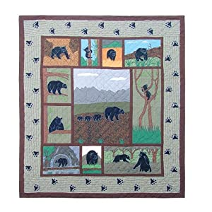 Patch Magic Queen Bear Country Quilt, 85-Inch by 95-Inch