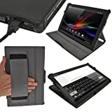 IGadgitz Black PU Leather Case Cover for Sony Xperia Tablet Z LTE Android Tablet. With Sleep/Wake Function & Integrated Hand Strap