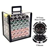 1000 Ultimate Acrylic Poker Chip Set. 14 Gram Heavy Weighted Poker Chips.