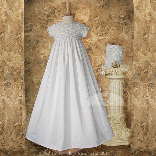 Baby Girl Size 0-3M White Sateen Rosette Chistening Baptism Dress