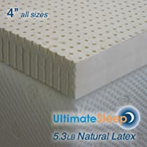 Big Sale Queen - 4 Inch Natural Latex Foam Mattress Pad Topper - Medium Firm