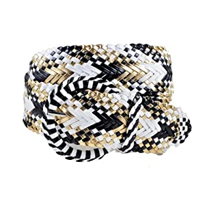Ladies Fashion Web Braid Faux Leather Woven Metallic Wide Belt 22 Colors (S (33