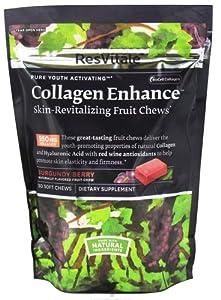 ResVitale - Collagen Enhance Skin-Revitalizing Fruit Chews Burgundy Berry - 30 Soft Chews