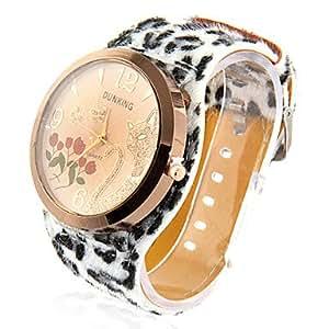 Women's Cat Design Leopard Print PU Band Analog Quartz Wrist Watch