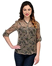 Colornext Georgette Brown Top for Women (Size: X-Large)