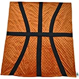 "Cozy Wozy Basketball Themed Minky Baby Blanket, Rust Orange, 30"" X 36"""