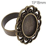 Popular Style Antique Bronze Plated Lace Edge Ring Base with 13x18mm Oval Blank Bezel-20pcs/lot