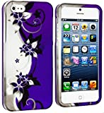 myLife Abstract Purple + White Flowers and Vines Series (2 Piece Snap On) Hardshell Plates Case for the iPhone 5/5S (5G) 5th Generation Touch Phone (Clip Fitted Front and Back Solid Cover Case + Rubberized Tough Armor Skin)