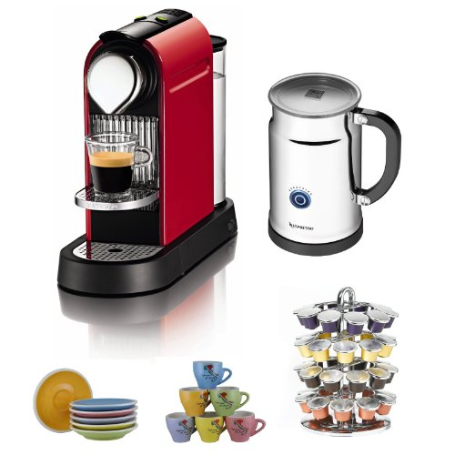 Nespresso C111 Citiz Fire Engine Red Eco Espresso Machine w/ Frother + 6 Cups & Saucers Tri Color + 40 Capsule Coffee Carousel