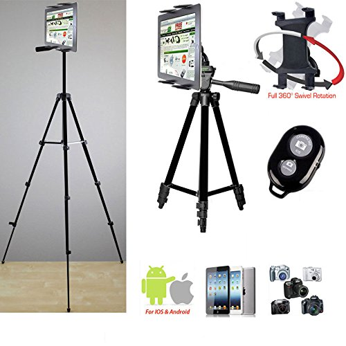 """ChargerCity Periscope Live Video Streaming Photo Kiosk 7-12"""" Tablet Stand w/52"""" TRIPOD, 360° Vibration Free Joint mount, Holder & Bluetooth Remote for Apple iPad Air Pro MINI Samsung Galaxy Tab Tablets"""