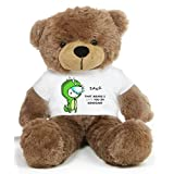 Brown 2 Feet Big Teddy Bear Wearing A Green RAWR I Love You T-shirt