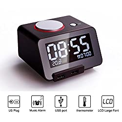 Multi-function Alarm Clock, with Charging Port, Thermometer - Homtime® C1 [Color Black]