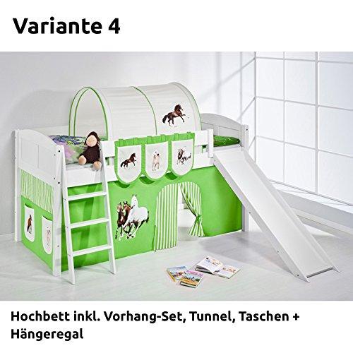 Hochbett Spielbett IDA Pferde Grün Beige, mit Rutsche und Vorhang, weiß, Variante 4 online bestellen