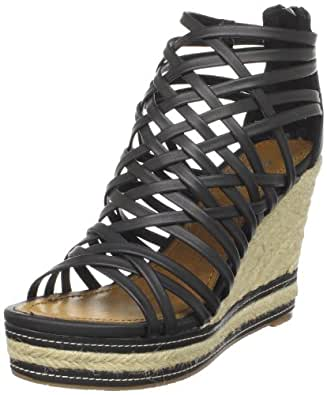 Wanted Shoes Women's Fennel Wedge Sandal,Black,5.5 M US