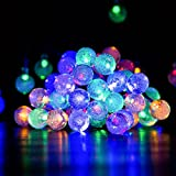 Solar Outdoor String Lights, Satu Brown 36ft 60 LED Crystal Ball Christmas Globe Lights for Home, Garden, Patio, Parties, Christmas Decoration (Multicolor)
