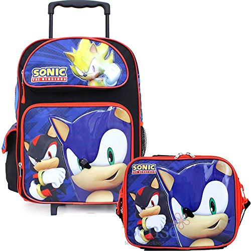 fbdac78291c8 Sonic The Hedgehog 16' Large Rolling Backpack & Lunch Box - Licensed Product