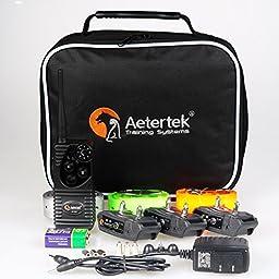 Aetertek AT-216S Waterproof 600 Yards 550m Range Remote Control 3 Dog Training Anti Bark Shock Collar Beep and Vibration