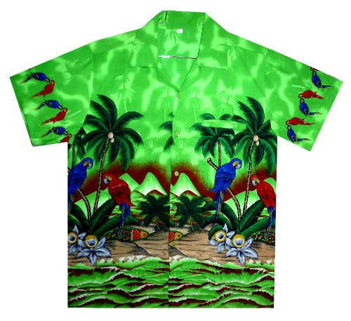 Funky Hawaiian Shirt Pink Shortsleeve XS Parrot