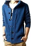 Next house メンズ ニット カーディガン ジャケット 長袖 ドンキー襟 アウター 大きい サイズ あり ( 09: ブルー XLサイズ )