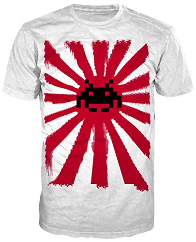SPACE INVADERS Pixelated Alien on Japanese Rising Sun Men's