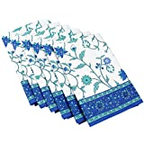 Table Linens Napkins Blue And White Cotton Floral Decor Set Of 6 Indian 20 Inches