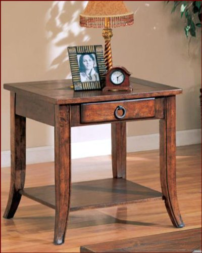 Image of Franklin End Table with Slate Tile Top and Storage CO700257 (B008A1JM8C)