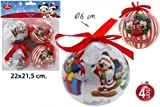 Disney Mickey & Minnie Mouse Weihnachtskugeln 4 Tlg. Weihnachtsbaumschmuck Ø8cm
