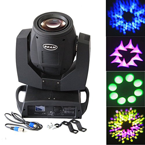 Yiscor Stage Lighting Beam Spot Light 200W Moving Head Philips 5R Lamp Bulb Dmx512 16Ch 14Colors Gobo For Xmas Christmas Disco Dj Club Birthday Home Garden Party Wedding Effect - Black