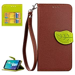 Crazy4Gadget Litchi Texture Leaf Buckle Horizontal Flip Leather Case with Card Slots & Holder & Wallet & Lanyard for Samsung Galaxy S6 edge+ / G928(Brown)